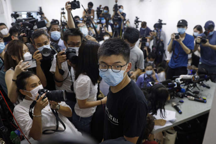 Le militant prodémocratie, Joshua Wong, lors d'une conférence de presse à Hongkong, le 31 juillet.