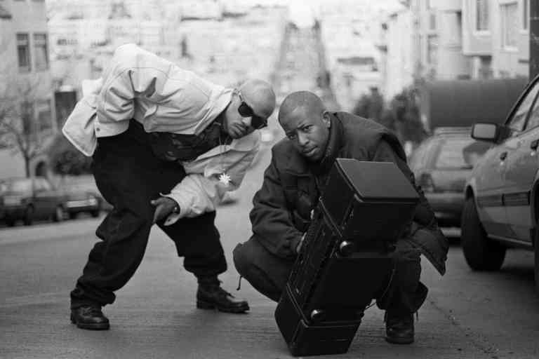 Guru and DJ Premier of Gang Starr pose with a boombox, San Francisco, United States, 1991. (Photo by Martyn Goodacre/Getty Images)