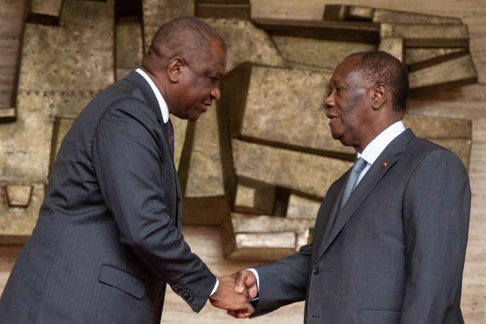 Hamed Bakayoko avec le président ivoirien Alassane Ouattara, à Abidjan, le 30 juillet 2020.