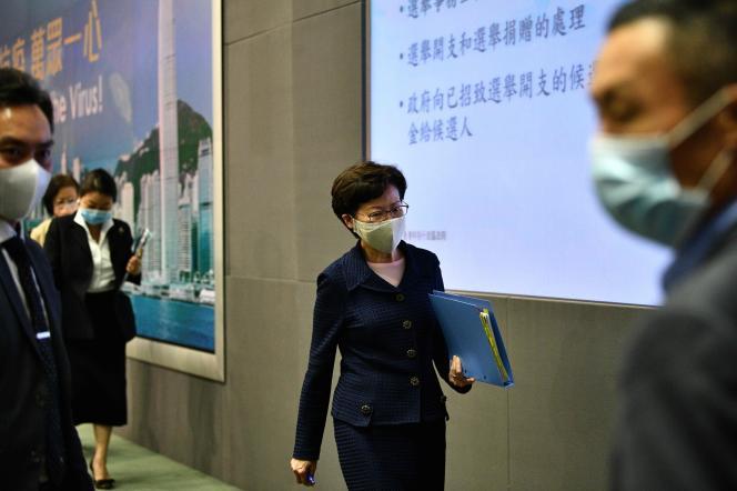 La chef de l'exécutif hongkongais, Carrie Lam, lors de sa conférence de presse à Hongkong, le 31juillet.