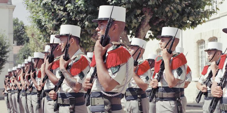 31 Juillet 2020. Nimes,  Deuxième regiment étranger d'infanterie, à Nimes. Les hommes de la première compagnie, de retour du mali,  en formation sur la place d'arme, pour le changement de capitaine, sous lequel ils serviront les deux prochaines années.