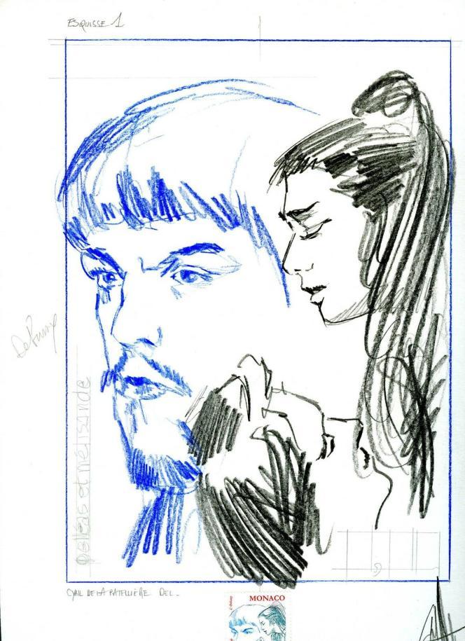 Maquette du timbre sur Debussy, pour Monaco, signée Cyril de La Patellière, 2002 (https://www.monacotimbres.com/fr/epreuves/2209-epreuve-d-artiste-maquette-cdebussy.html).