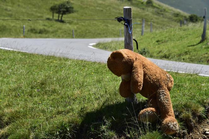 Un ours en peluche est pendu à l'occasion d'un rassemblement contre les ours autour de l'étang de Lers, en Ariège, le 4 juillet.