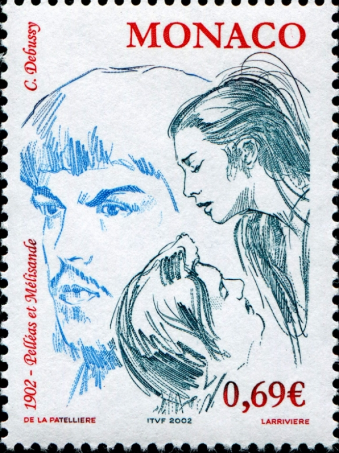 «Pelléas et Mélisande», de Debussy, dessiné par Cyril de La Patellière, gravé par Jacky Larrivière et imprimé en taille-douce pour Monaco (2002).