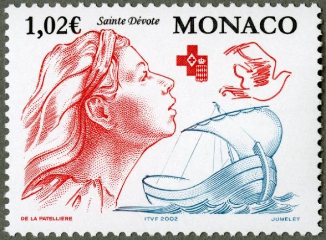 Premier timbre créé par Cyril de La Patellière pour Monaco, gravé par Claude Jumelet (2002).