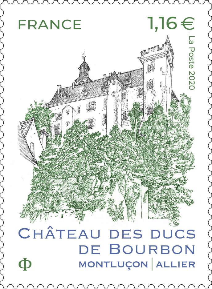 « Château des ducs de Bourbon»,timbredessiné par Stéphane Levallois, gravé par Marie-Noëlle Goffin et mis en page par Valérie Besser, à paraître en septembre.
