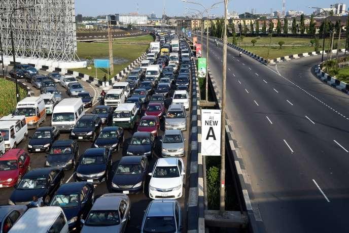 Embouteillage sur le Third Mainland Bridge, à Lagos, le 29juillet 2020.