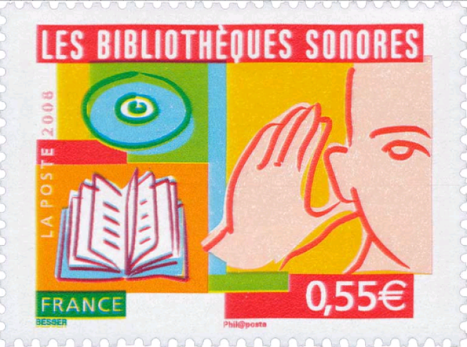 « Les Bibliothèques sonores», timbre créé par Valérie Besser (2008).