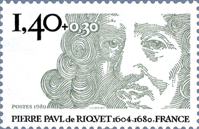 « Pierre-Paul de Riquet», un timbre créé par Jacques Jubert (1980) dont la gravure fait penser (un peu) au Christ de Claude Mellan.
