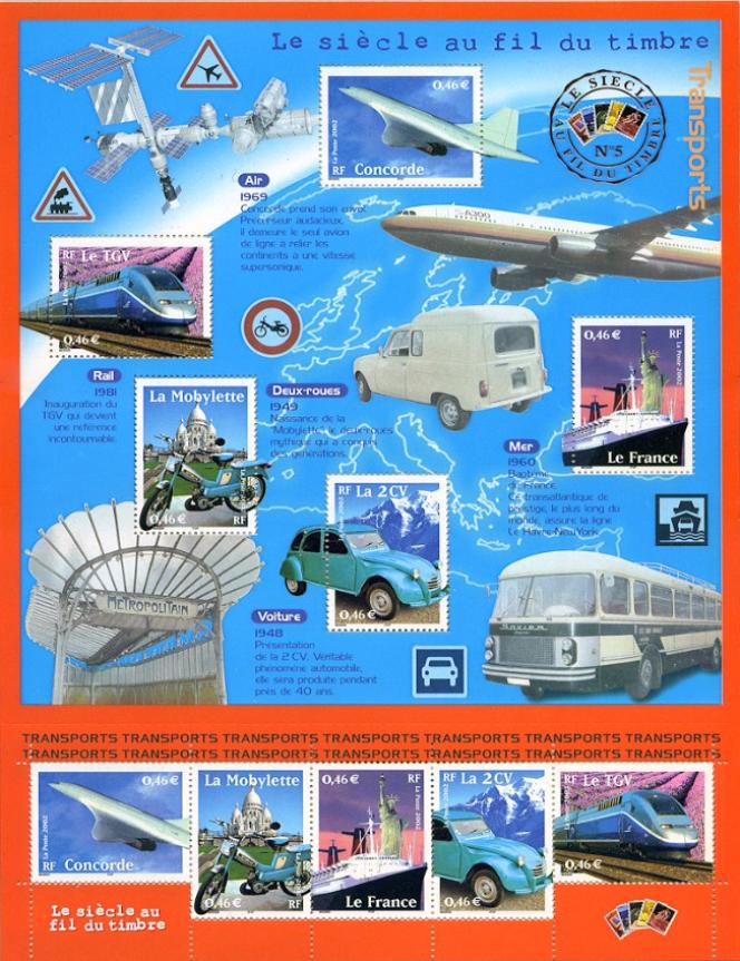 « Le Siècle au fil du timbre. Transports», création de Valérie Besser (2002).