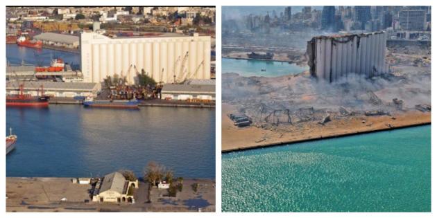 Le silo du port (à gauche en novembre 2019) a été détruit par l'explosion.