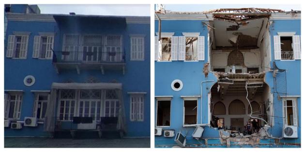 La façade d'un restaurant italien de Gemmayzeh (à gauche, en mars 2019) a été entièrement soufflée.