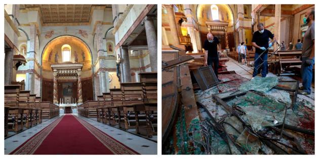 Vitraux brisés et meubles détruits à l'intérieur de l'église Saint-Georges (à gauche, en juin 2019).