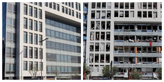 Les vitres de l'immeuble du quotidien «An-Nahar» (à gauche, en avril 2019) ont toutes été soufflées.