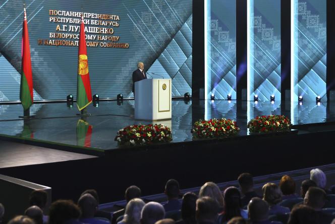 Le président biélorusse, Alexandre Loukachenko, lors de son discours du 4 août 2020.