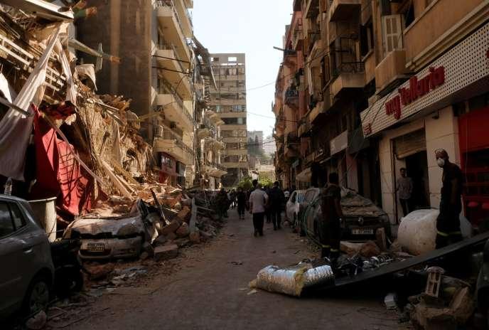 Les rues de Beyrouth mercredi 5 août, au lendemain de l'explosion.