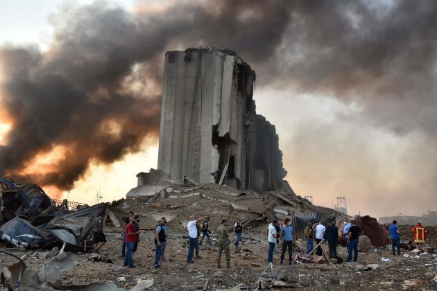 Un silo détruit sur le site de l'explosion, dans le port de Beyrouth, le 4 août.