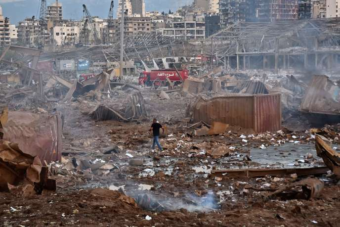 The site of the explosion that ravaged part of Beirut, near the port, on Tuesday August 4th.