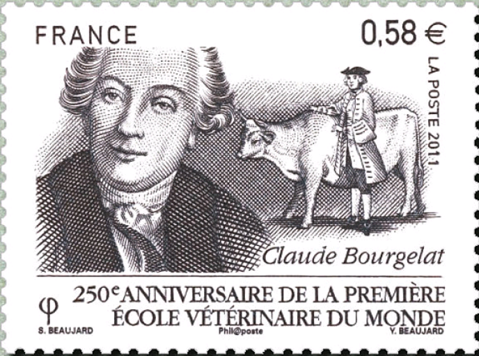 """""""Louis Pasteur, René Descartes, Claude Bernard, Claude Bourgelat. So many personalities who, in their own way, have rejected the too rigid compartmentalization of knowledge and whose attitude should inspire us in the face of the current health challenge """"(Stamp published in 2011 designed by Sophie Beaujard, engraved by Yves Beaujard and printed in intaglio)."""