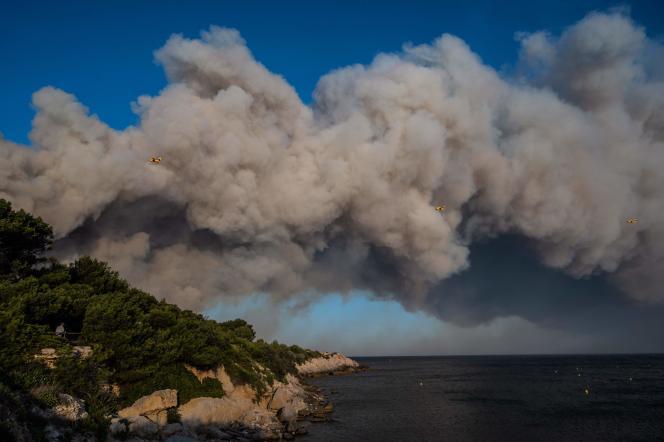 Des Canadair survolent une colonne de fumée, le 4 août à La Couronne (Bouches-du-Rhône).