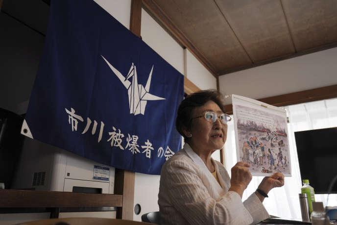 Michiko Kodama, secrétaire générale adjointe de la Confédération japonaise des organisations de victimes des bombes A et H, à Tokyo, le 12 juillet.