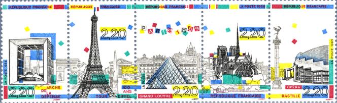 Bande de timbres dessinés et gravés par Jacques Jubert (1989).
