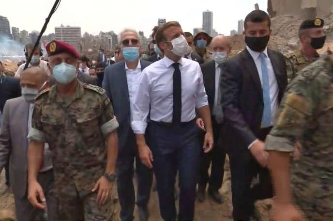 Emmanuel Macron en déplacement à Beyrouth, le 6 août.