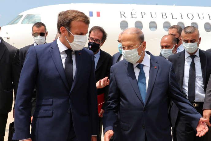 Le président français, Emmanuel Macron, et le président libanais, Michel Aoun, à Beyrouth, le 6 août.