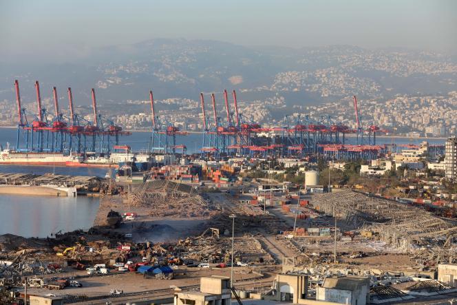 Vue sur les dommages qu'a causé la double explosion dans la zone portuaire de Beyrouth, au Liban, le 5 août.