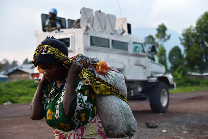 Un véhicule de la Brigade spéciale d'intervention de la SADC (FIB) près de Goma, en République démocratique du Congo, en septembre 2013.