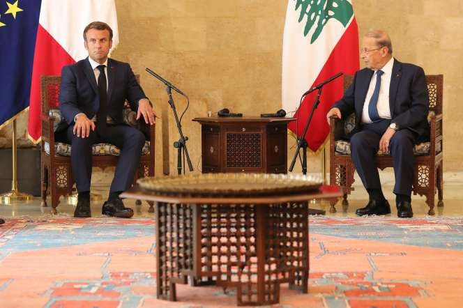 Le président français Emmanuel Macron et son homologue libanais Michel Aoun le 6 août à Beyrouth.