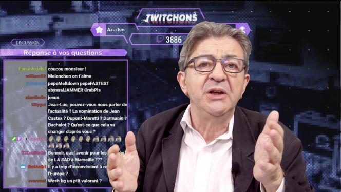 Extrait d'une intervention en direct de Jean-Luc Mélenchon sur le réseau Twitch, en juillet.