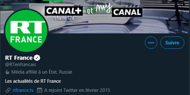 Le média francophone RT fait partie des médias signalés par Twitter.