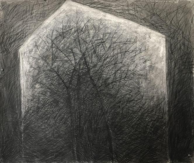 Eve Luquet «Cabane Silhouette», mine noire et encre de chine sur Arches marouflé sur toile 65 x 54 cm.