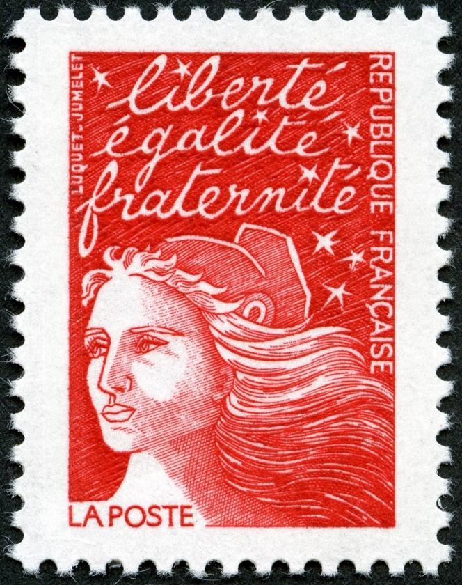 La « Marianne » de Luquet, dite du « 14-Juillet », dessinée par Eve Luquet, gravée par Claude Jumelet et imprimée en taille-douce (1997).