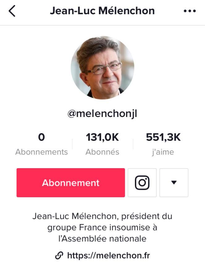 Page d'accueil deu compte de Jean-Luc Mélechon sur le reseau Tiktok.