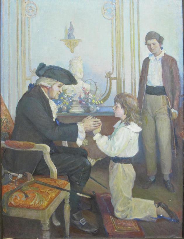 Pierre-Samuel du Pont de Nemours et ses enfants devant le buste de leur mère.«L'accolade », de Stanley Massey Arthurs, huile sur toile, 1944.