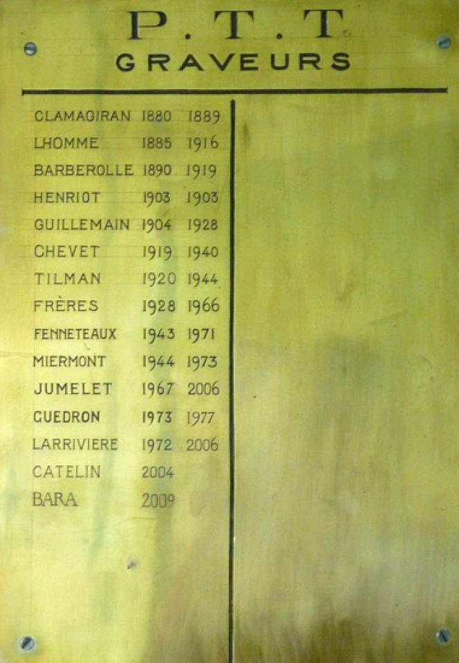Plaque gravée qui recense les graveurs de l'imprimerie de Boulazac.