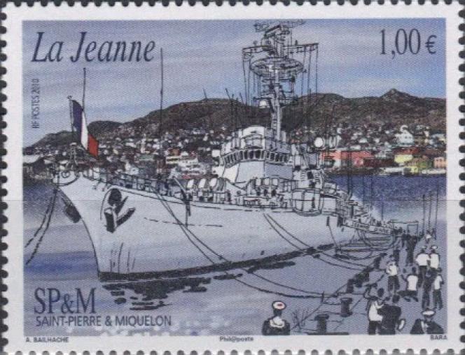 Le premier timbre de Pierre Bara, pour Saint-Pierre et Miquelon, d'après une oeuvre d'AlainBailhache (2010).