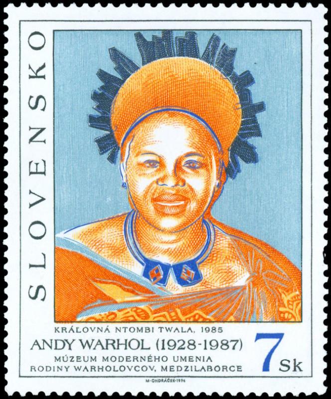 Andy Warhol par la poste Slovaque, timbre gravé par M. Ondracek (1996).