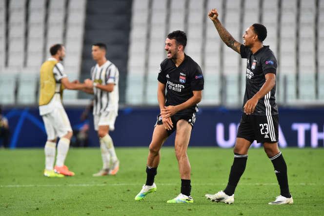 La joie des Lyonnais après leur qualification pour les quarts de finale de la Ligue des champions.