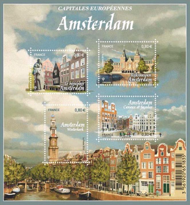 « Amsterdam», bloc-feuillet créé par Stéphane Humbert-Basset émis en 2016.