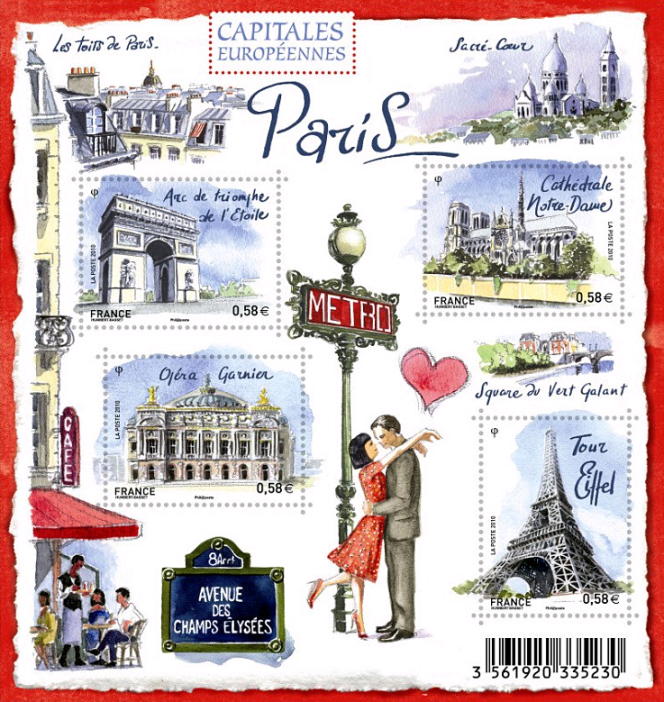 « Capitales européennes. Paris», bloc-feuillet dessiné par Stéphane Humbert-Basset émis en 2010.