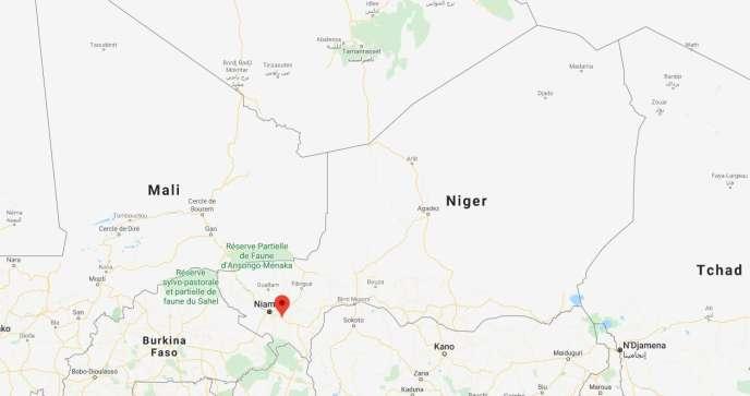 Carte de localisation de la zone de Kouré où l'attaque s'est produite le dimanche 9août.