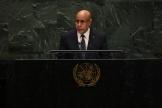 Le président mauritanien, Mohamed Ould Ghazouani, à la tribune des Nations unies, à New York, en septembre 2019.