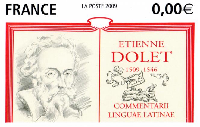 Proposition de maquette non retenue pour le timbre Etienne Dolet de Cyril La Patellière. «Celle avec le livre ouvert était assez graphique, peu courante : on avait tous les éléments symbolisant bien le personnage, sa vie, son œuvre», explique l'artiste.