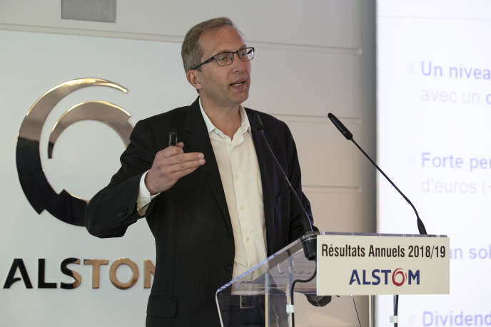 Le PDG d'Alstom, Henri Poupart-Lafarge, au siège de l'entreprise à Saint-Ouen (Seine-Saint-Denis), près de Paris, le 7 mai 2019.
