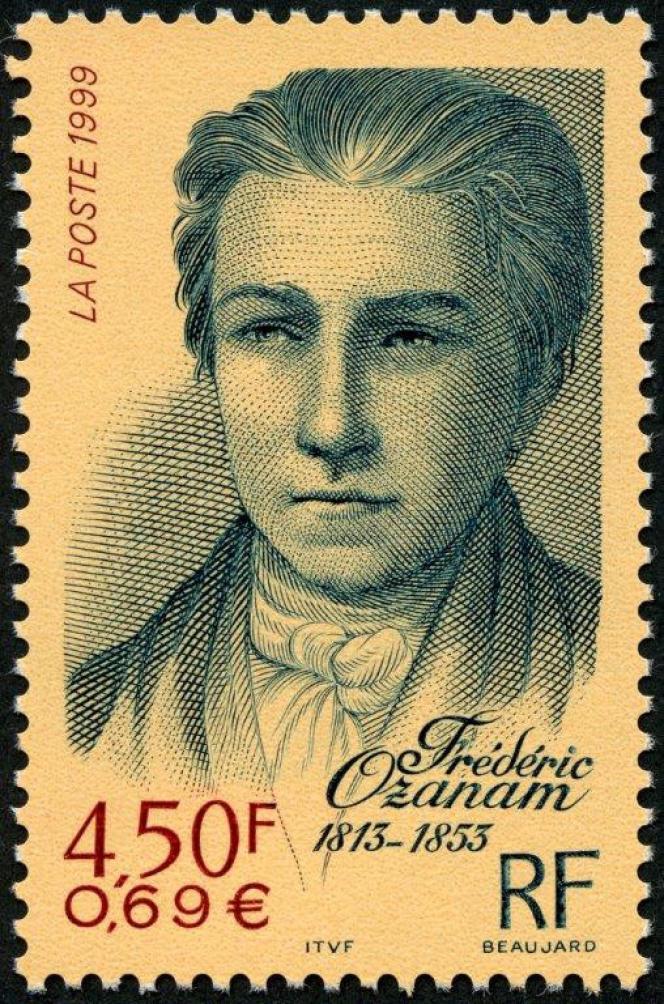 « Frédéric Ozanam (1813-1853», dessiné et gravé par Yves Beaujard, timbre paru en 1999.
