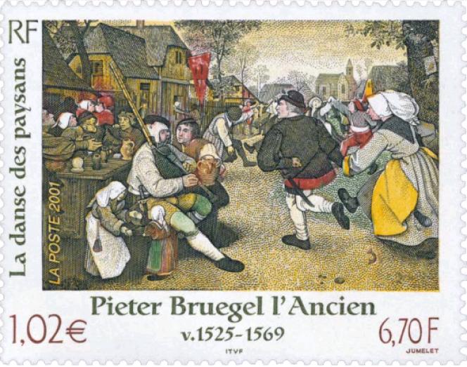 « La Danse des paysans», par Pieter Bruegel l'Ancien, paru en 2001. Mise en page de Charles Bridoux, gravure en taille-douce de Claude JUmelet.