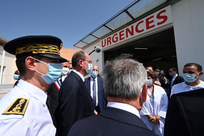 Jean Castex au CHU de Montpellier, le 11 août 2020.